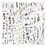 12 hojas Scrapbook Stickers Pegatinas de flores Etiqueta de la decoración Planificador de pegatinas Pegatinas de plantas para Scrapbooking Diary Album Journals Artes y manualidades de bricolaje