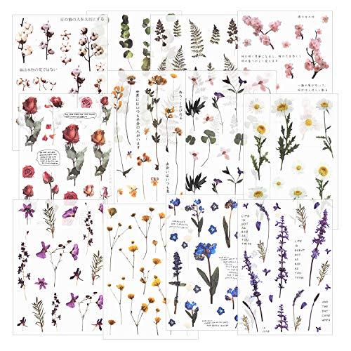 12枚 手帳シール スクラップブックステッカー フラワーステッカー 装飾用ステッカー 注目の植物ステッカー ...