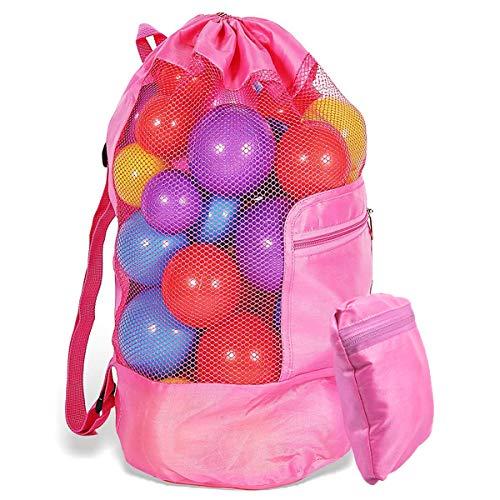 WEONE Strandspielzeug Tasche, Faltbare Strandtasche für Kinder Sandkasten Spielzeug, Rücksack Beutel Netztasche Mesh Beach Bag mit Schultergurt für Jungen Mädchen Familie Outdoor Urlaub (Rosarot)