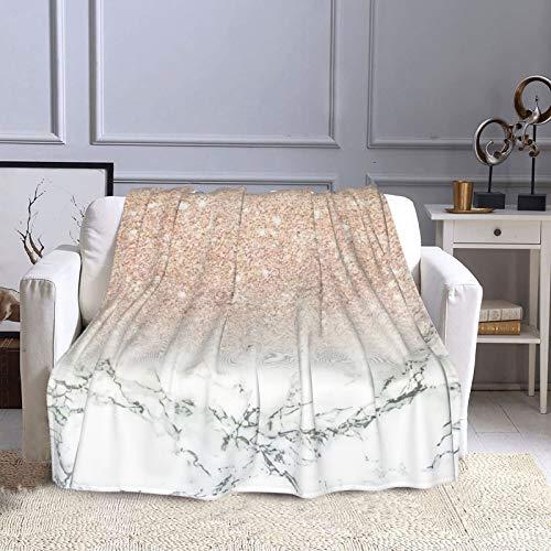 KCOUU Couverture polaire moderne 127 × 152 cm imitation or rose pailleté ombré blanc Mar doux chaud couverture décorative pour canapé, lit, canapé, voyage, maison, bureau toutes saisons