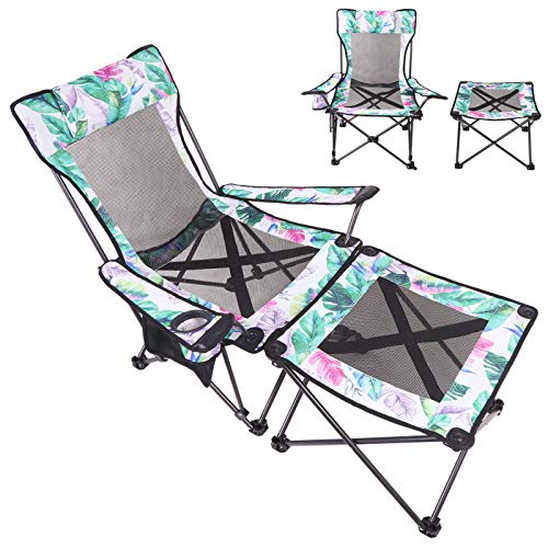 KABOER Portable Camping Chair with Footrest Mesh, Folding Reclining Chair Heavy Duty Lounger for Camping Fishing Beach and Picnic(Hawaiian Leaves)