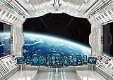 LYWYGG 7x5ft Vinyle Vaisseau Spatial Arrière-Plan intérieur Futuriste Science Fiction Photographie Toiles de Fond Cabane Spatiale Prise de Vue en Studio Accessoires CP-187