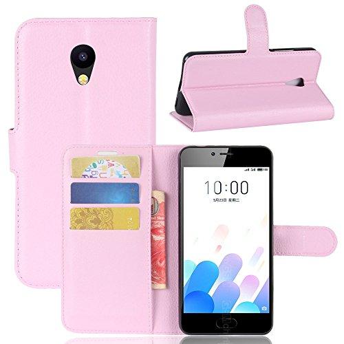 Owbb Hülle für Meizu A5 / M5C Ultra Schlanke Handyhülle Premium PU Ledertasche Flip Cover Wallet Hülle mit Stand Function Innenschlitzen Design Rosa