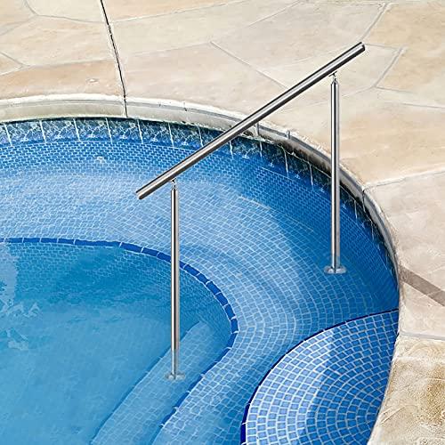Juego de Barra de Agarre para pasamanos, pasamanos de Piscina, Juego de pasamanos de Acero Inoxidable 304 de ángulo Ajustable para escaleras Interiores y Exteriores, fácil instalación L3.9ft x H2.7f
