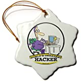 3dRose orn_103240_1 Funny Worlds Greatest Hacker Cartoon-Snowflake Ornament, 3-Inch, Porcelain