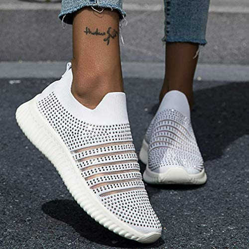 Dames Platte instapschoenen Mode Strass Loafers Sneakers Lichtgewicht sneakers Zomer Herfst Casual Chaussures Femme Basket Flats Schoenen,04,43