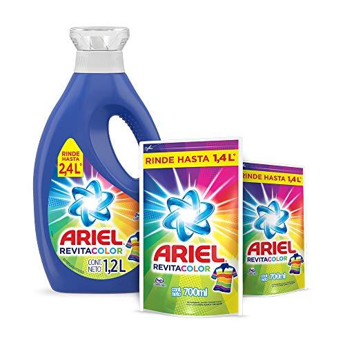 Ariel Revitacolor Detergente Líquido 1.2L con 2 Refills de 700 ml, Total 2.6 L