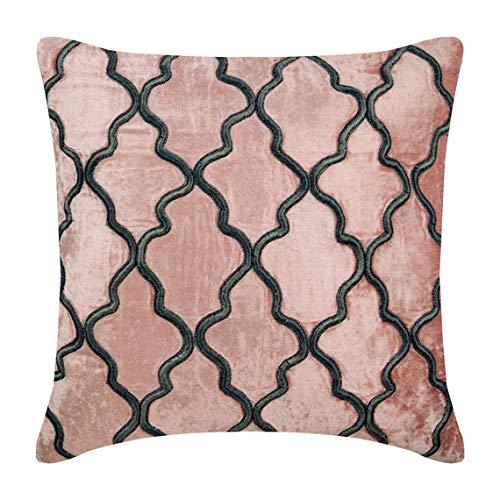 Funda de Almohada Decorativa Rosado Enrejado Bordado Terciopelo 65 x 65 cm Rosado, Funda de cojin Hecha a Mano Terciopelo - Flirty Lattice