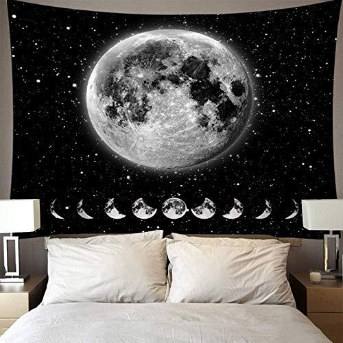 N / A Blanc Noir Soleil Lune Mandala Tapisserie Murale Tapisserie Céleste Tapisserie Hippie Dortoir Décoration Psychédélique Tapisserie Décoration A14 130x150cm