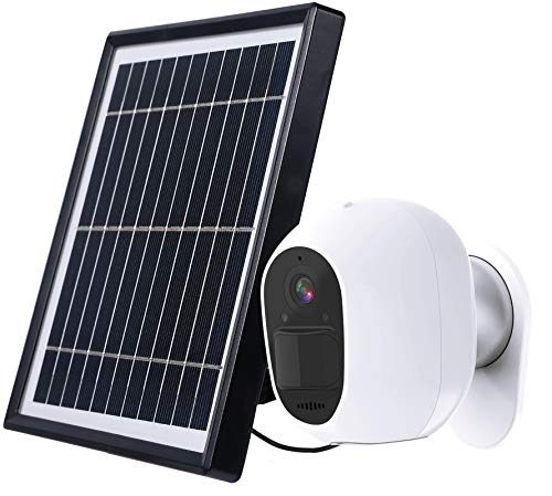 Solar Powered Security Camera Outdoor, 1080P Surveillance Cam Support 2.4GHz Wireless WiFi App Remote with 2-Way Audio, Night Vision, Motion Alert, IP65 Waterproof, SD/Cloud Storage