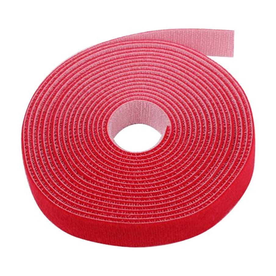TNP Hook And Loop Tape Strap Cable Ties Fastener (Red) (15 Feet) - Sticky Self Adhesive Nylon Fabric Roll Wrap 0.75