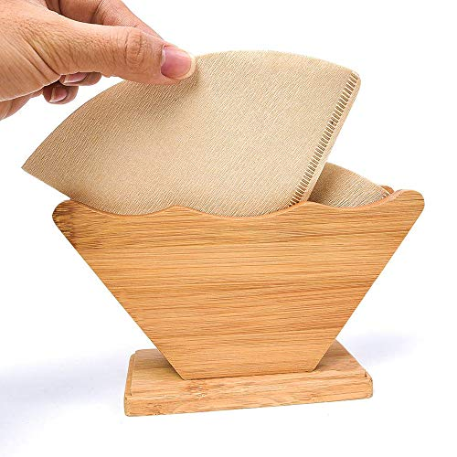 Coffee Filter Holder QBOSO Bamboo Fan Shape Filter Stand,Coffee Filter Paper Rack Shelf Dispenser for Coffee Makers Filters