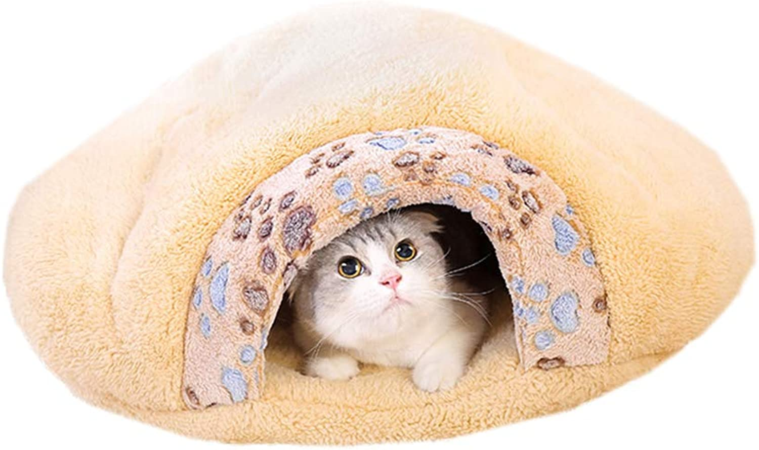 Cat Bed House Cave Cat Sleeping Bed Bag Warm Winter Pet Cat Enclosed Cat Cave Suitable for SmallSized Cats (L)