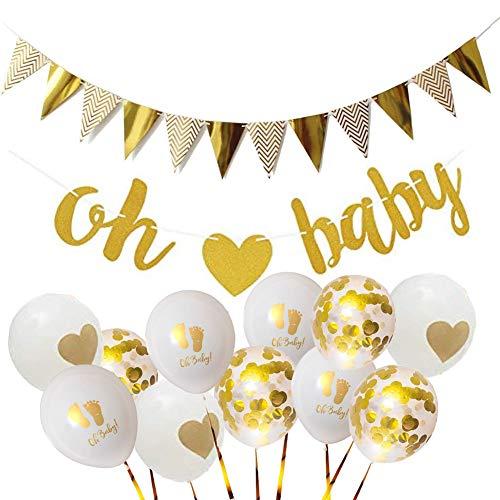 HEZIJIA 17 Stück Baby Party Deko Mädchen Junge Oh Baby Deko Girlande Goldener Wimpel Gold Konfetti Luftballoons Set