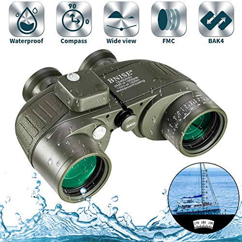 BNISE 10x50 Fernglas für Erwachsene Tierbeobachtung Safari Eingebauter Kompass und Entfernungsmesser mit Brustgurt, Militär Marine Tarnfarbe, wasserfest, Hochleistungs Teleskop