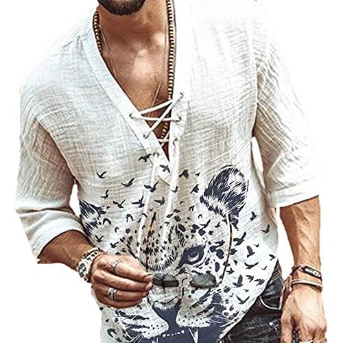 domorebest Camisa de Lino Hippie de Moda para Hombre Camiseta Holgada de Playa con Cuello en V y Media Manga...