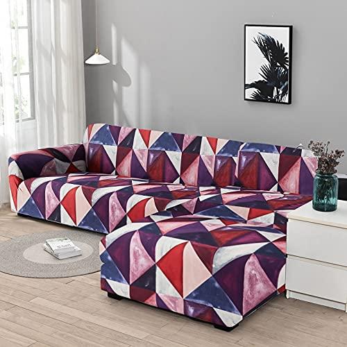 WXQY Funda de sofá Chaise Longue Funda de sofá de Sala de Estar Funda de sofá elástica Todo Incluido a Prueba de Polvo Funda de sofá en Forma de L A7 3 plazas