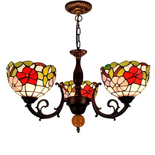 Tiffany Stijl 3-Arm Bloemen Kroonluchter Vintage Pastoral Morning Glory Stained Glass Pendant Lamp voor Living Eetkamer Slaapkamer Cafe, E27