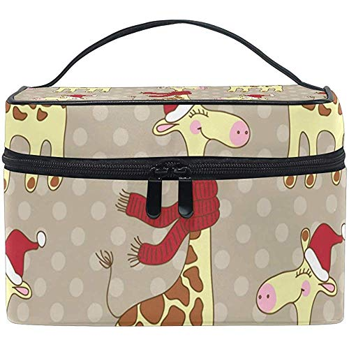 Cosmetic Bag, Funny Giraffes Travel Makeup Organizer Bag Cosmetic Case Portable Train Case for Women Girls