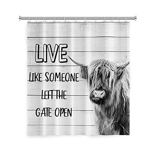 LFEEY Highland Cow Shower Curtain 72x72 inch Hippie Farm Animal Bull Portrait with Funny Quotes on Wood Board Farmhouse Bathroom Curtain Waterproof Fabric with Hooks