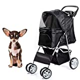 Dawoo Poussette bébé pliante 4 roues avant pour animaux de compagnie, avant, 4 roues (noir)
