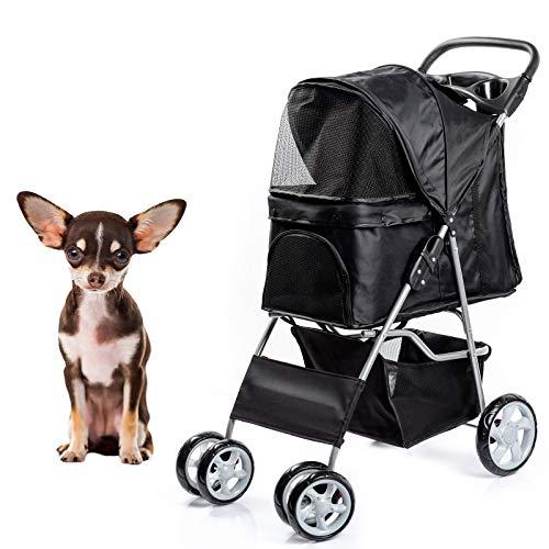 Dawoo Chariot Pour Animaux De Compagnie à 4 Roues Pour Chats / Chiens, Chariot à Jogger Facile à Plier, Avec Panier De Rangement Et Porte-Gobelets (Noir)