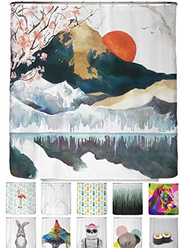 arteneur® - Cortina de Ducha 180x180 - Cortina de Baño Antimoho de Tela, Impermeable, Lavable y Opaco con Dobladillo Ponderado y Anillas (Japón)