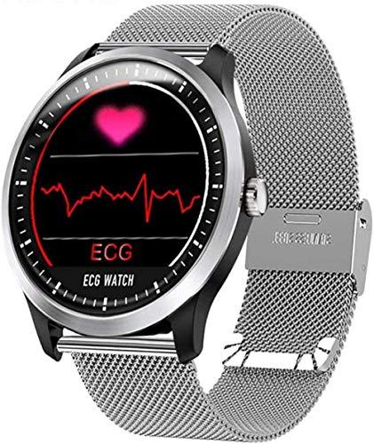 Reloj inteligente para hombre con monitor de ritmo cardíaco ECG, monitor de sueño, interfaz de usuario 3D, correa de acero, apto para Android y Apple 002-002