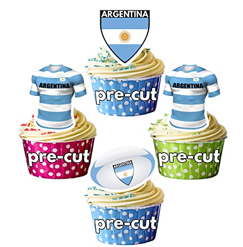AK Giftshop PRECUT Rugby Shirt Ball Vlag Team Argentinië - Eetbare Cupcake Toppers/Cake Decoraties (Pak van 12)