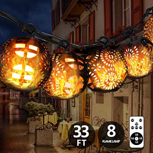 YINUO LIGHT LED Lichterkette Außen, 8 LED Garten Lichterkette – 11 Meter, IP44 Wasserdicht, 112 LEDs Warm-weiß Lchterkette für Party,Weihnachten,Halloween,Zimmer usw