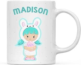 Funny Mug Personalized 11oz. Kids Milk Hot Chocolate Mug, Mint Green Haired Baby Doll, 1-Pack, Custom Child's Birthday Christmas Coffee Cup