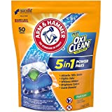 Arm & Hammer Plus OxiClean HE 5-in-1 Laundry Detergent Power Paks, 50 Count (Packaging may vary)