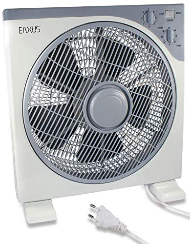 Eaxus® Tischventilator - Kraftvoller 40W Box Ventilator Fan mit Timer & 3 Geschwindigkeitsstufen