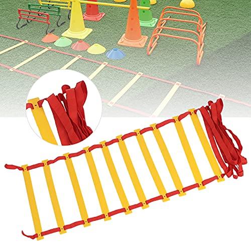 Wosune Escalera de Agilidad, Material de Polipropileno Escalera de Velocidad Escaleras Ligero Cinturón Trenzado de Alta Densidad para Exteriores para Ejercicio(Red Rope)