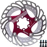 YBEKI Freno Disco Rotores Bicicleta 140mm 160mm 180mm 203mm Bicicleta Freno Disco para Bicicleta de Carretera, Bicicleta de Montaña, MTB, BMX (rojo, 203mm)