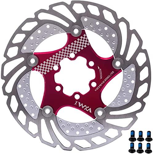 YBEKI 140mm 160mm 180mm 203mm Fahrrad Bremsscheibe mit 6 Schrauben Fahrradkühlung Bremsscheibe Schwimmbremse für Rennrad, Mountainbike, MTB, BMX