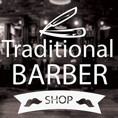 Traditionele muurraamsticker, afneembare kapsalon, tekenstickers, baard, scheermes, vinyl, decoratieve ruimte