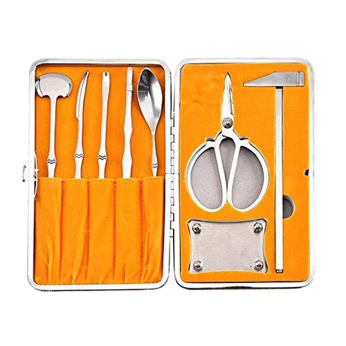 8 Stück Edelstahl Esskrabben Werkzeuge, Hummer Krabben Cracker Tool Kit, Meeresfrüchte Werkzeuge Set, Küchenlöffel Kleines Hammer Gadget