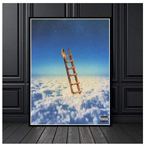 Chihie Travis Scott Highest In Room Musikalbum Malerei Poster Print Leinwand Wandbild Für Home Room Decor-50X70cm ohne Rahmen