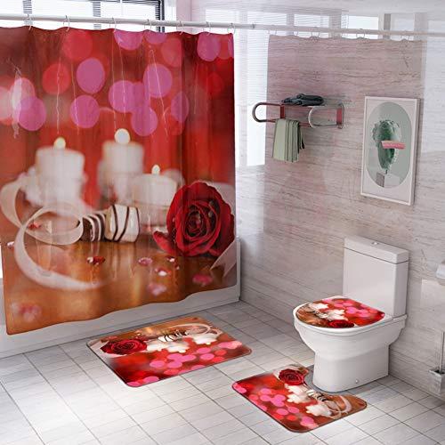Maritown Happy Valentinstag Rotes Herz Badematte Set Badematte + Sockelmatte + Toilettensitzbezug + Duschvorhang mit Haken 4-teiliges Set rutschfeste Badteppichmatte