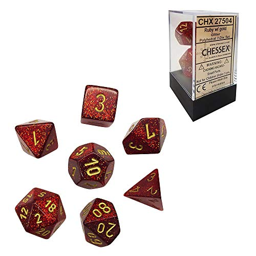 Chessex Glitter Polyhedral Ruby/Gold 7-Die Set