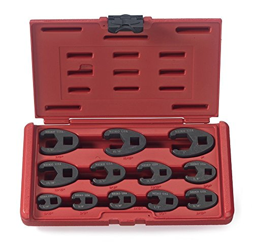 """NEIKO 03323A 3/8"""" and 1/2"""" Drive Crowfoot Flare Nut Wrench Set   12 Piece   SAE   5/16"""" to 1""""   Cr-Mo Steel"""