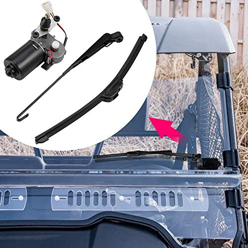 Kemimoto 12V Electric Windshield Wiper Motor Kit, Universal Compatible with most UTV RZR Ranger 570 900 1000, 2020 Defender Pro, 90 Degree Sweep, 16 Inch Wiper Blade