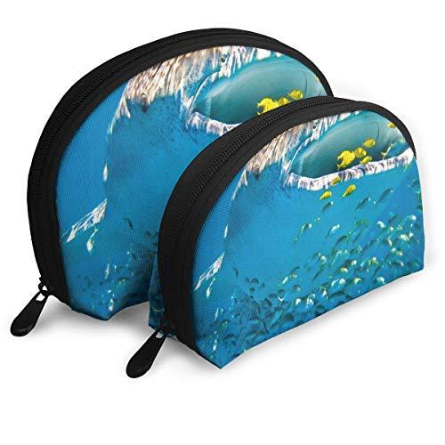 Trousse de Maquillage Whale Shark Organisateur de Toilette Portable Shell pour Les Femmes Cadeau de Noël 2 Pack