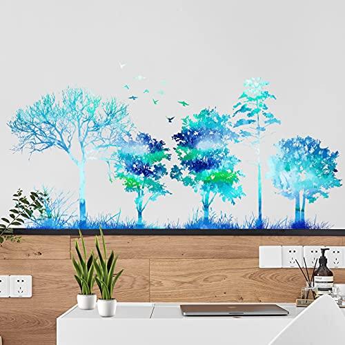 Pegatinas de Pared de Bosque azul Vinilos Adhesivos Pared Mariposas Flores Decorativos para Dormitorio Habitación Infantiles...