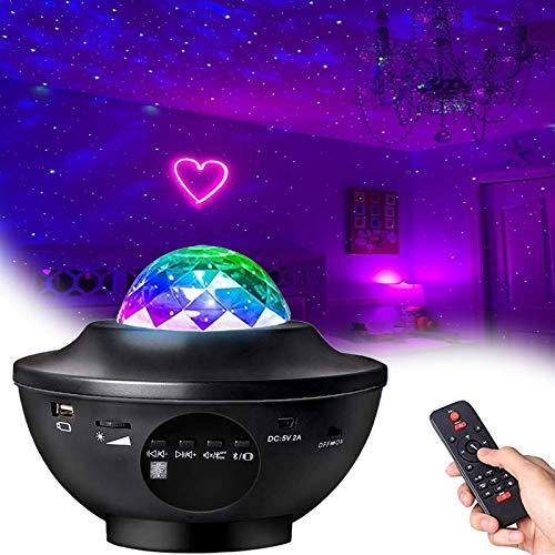 Luz de noche de proyector de galaxia,Galaxy Projector Light Ocean Wave Projector con LED Nebula Cloud y Bluetooth Music Speaker como...