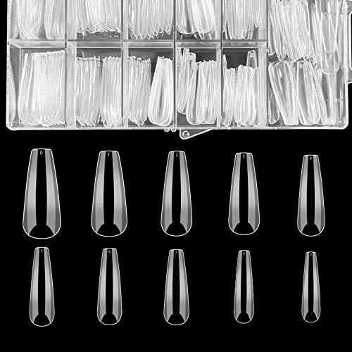 120Pcs Clear Ballerina False Nail,Full cover Coffin Nails,Long Artificial False Nail Tips,Transparent Acrylic Nail Tips for Ballerina Nail Art Decal Nail Salon and DIY Art Home Use...