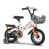 WJYHXW Niños Plegable Bicicleta con Auxiliar Rueda Bicicleta De Montaña, Marco De Acero Al Carbono, Grueso Acolchado Ensillar Urbano Fuera del Camino, Naranja Asiento Trasero,14 Inch