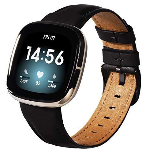 KADES Kompatibel für Fitbit Versa 3 Armband, Echtleder-Armband Kompatibel für Fitbit Versa 3 Armband, für Versa Sense Armband Männer Frauen, Schwarz