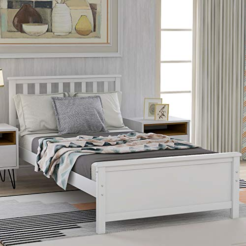 Twin Bed Frame, Wood Platform Bed with Headboard and Footboard, No Box Spring Needed, White